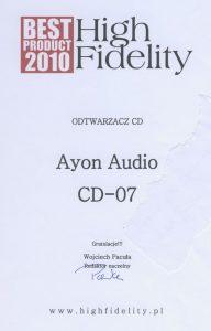 Ayon-CD-07_BestProduct2010_HF